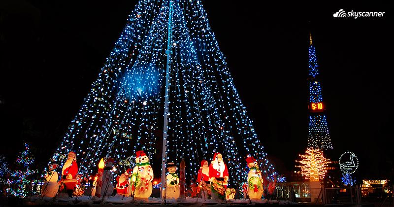 ต้นคริสต์มาสประดับไฟที่ซัปโปโร