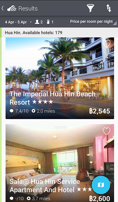 screenshot แอพโรงแรมของ Skyscanner